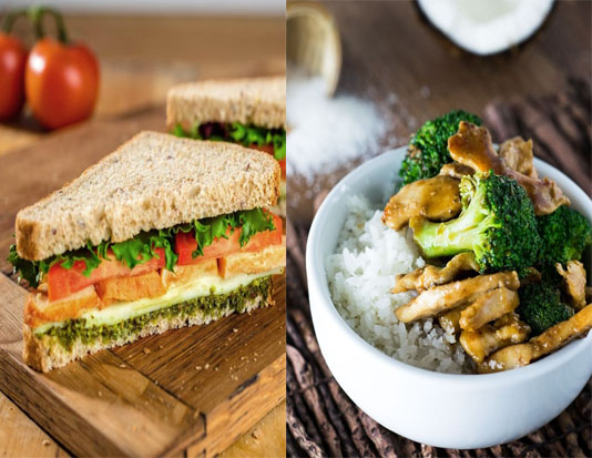 Bánh mì kẹp thịt, cơm trắng và bông cải xanh