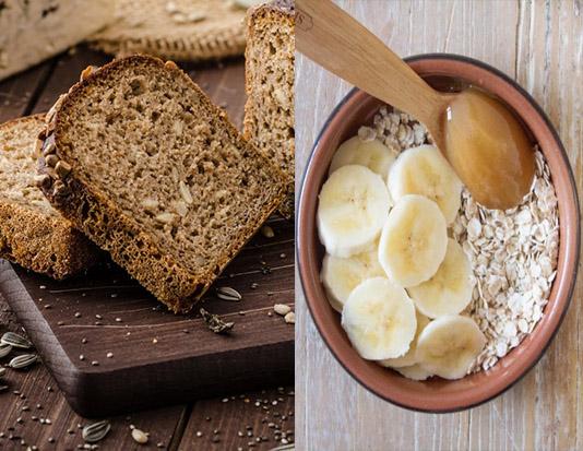 Bánh mì nướng ngũ cốc, sữa yến mạch, quả chuối