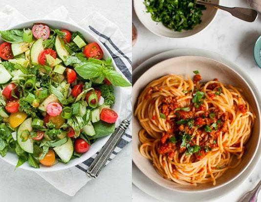 Salad rau củ, mì Ý, sữa không béo