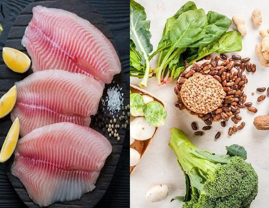 Phi lê cá rô với nước cốt chanh, các loại đậu và rau tùy sở thích