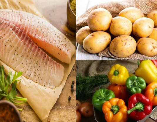 Phi lê cá rô, khoai tây và ớt chuông