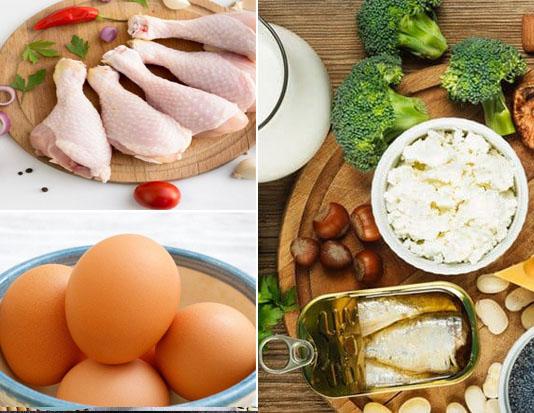 Thịt gà, trứng, phô mai và rau xanh, bánh ngũ cốc