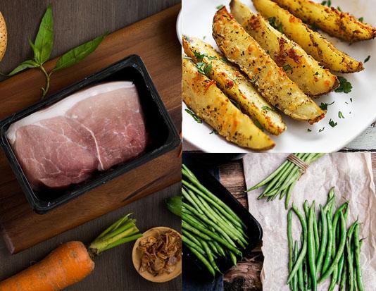 Thịt lợn thăn với khoai tây nướng tỏi và đậu cô ve