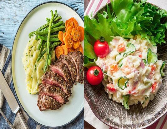Thịt thăn, khoai tay nghiền, salad