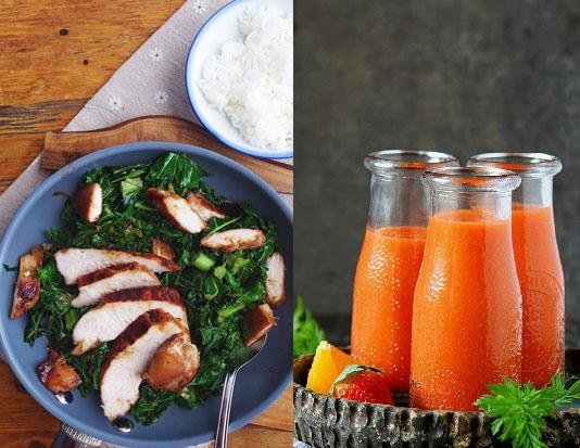 Ức gà, nước ép cà rốt, cải xoăn xào