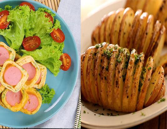 Xúc xích gà với trứng và khoai tây nướng